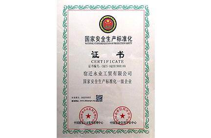 国家安全生产标准化证书
