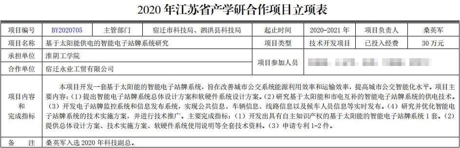 2020年江苏省产学研合作项目立案表